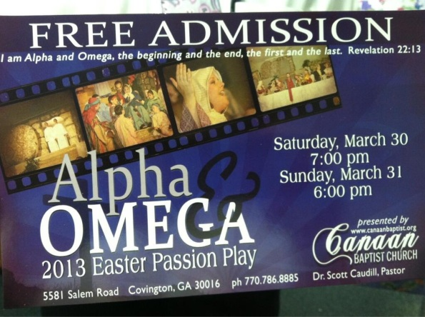 2013 passion play card
